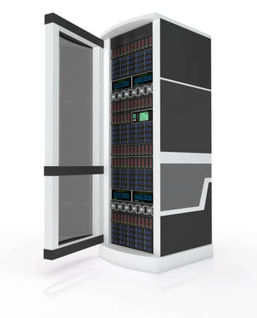mainframe computer: Server rack with open door isolated on white Stock Photo
