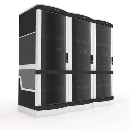 three server racks with on white background photo