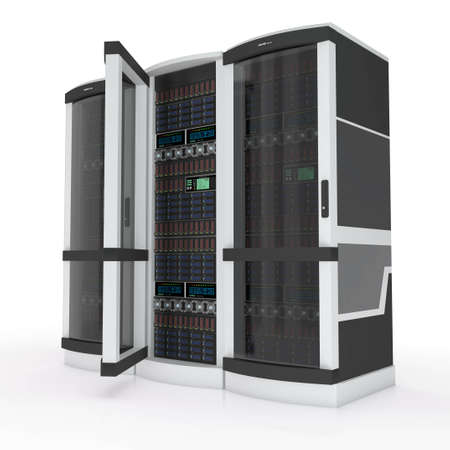 mainframe computer: three servers with open door on white Stock Photo