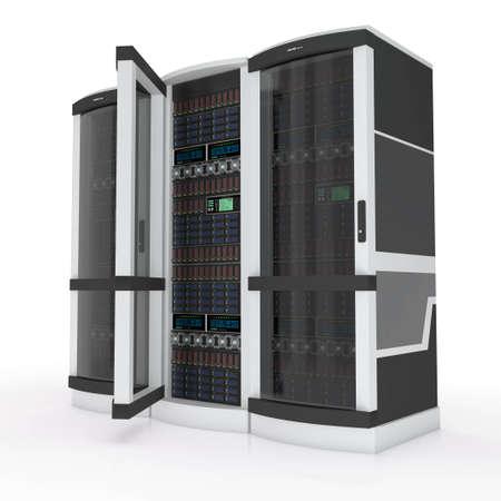 three servers with open door on white photo