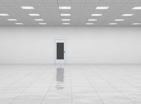 pavimento gres: stanza vuota con porta e pavimento di riflessione