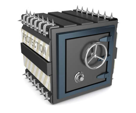 safety deposit box: Black armored safe deposit box with spikes Stock Photo