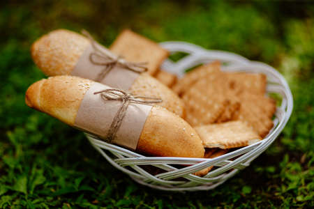 indulgence: bakery  and busuits close up on the plate with green grass background Stock Photo