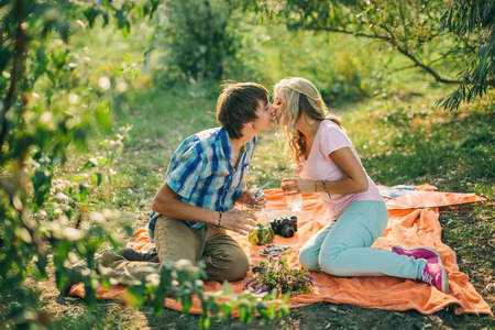 kissing couple: teenage couple kissing on picnic in green park Stock Photo