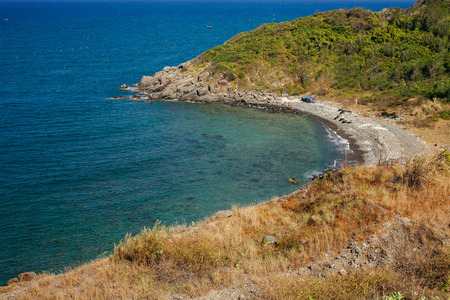 trang: wild beach lagoon in Vietnam Nha Trang Stock Photo