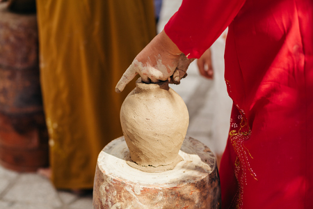 clay pot: clay pot creation traditional handicraft in vietnam