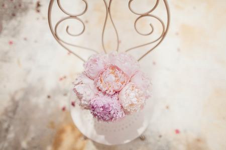 wedding bouquet fine art of peonies  top view