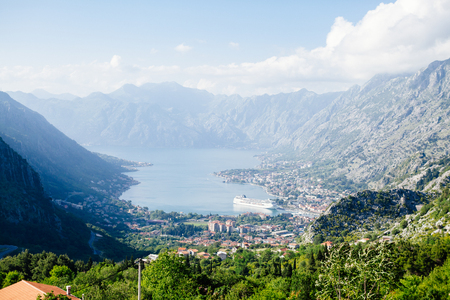Kotor Bay view in Montenegro with big cruise ship background