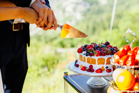 bride and groom cut wedding cake. Close up. Fine art wedding style Stock Photo