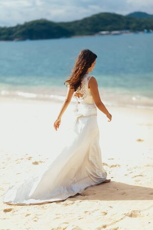 bride travel beach resort. Sea view and beach in tropics
