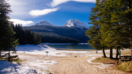 winter mountains and snow lake. Picturesque snowy mountains.