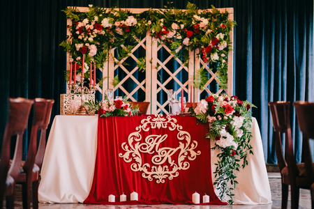 Wedding Table decoration in castle. Table coverage. FIne art wedding  style.