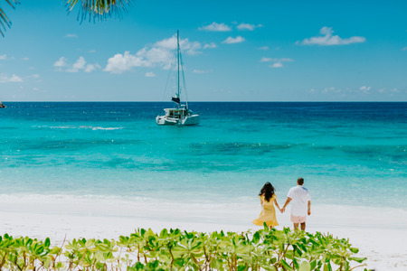 Honeymoon couple travel in tropics in hot summer Stock Photo