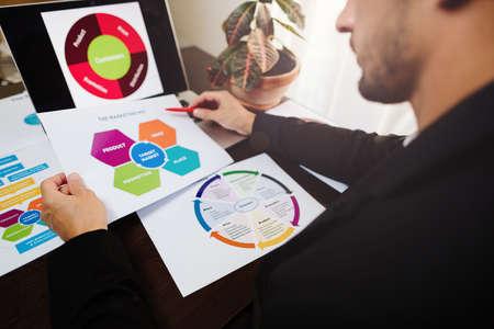 marketing product manager holding marketing promotion plan Stock fotó
