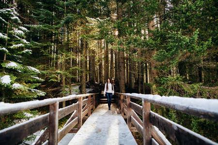 woman walk in winter forest