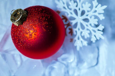 new year red ball ornament decoration background Stock Photo