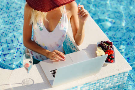 freelancer woman using laptop and work remotely Stock Photo