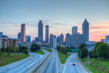 The best Atlanta Downtown overlook at dusk with blue sky photo