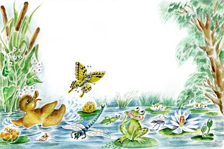 pond water: Butterfly, duckling and frog are playing together on the pond  Useful for children s cards
