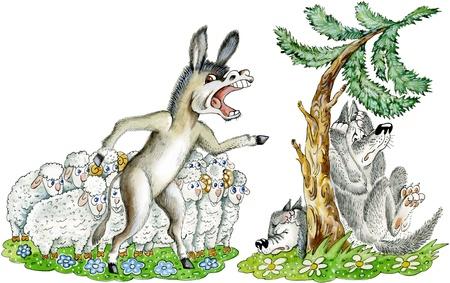 donkey tail: Burro escena divertida caricatura burro rugiente defiende reba�o de ovejas de dos lobos, que est�n temblando de miedo bajo el �rbol de abeto