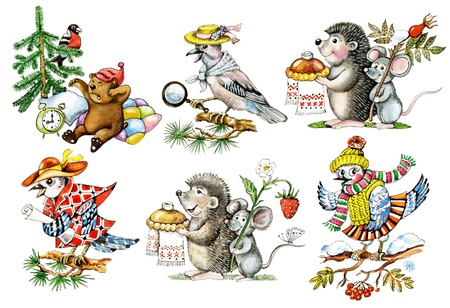 Cartoon animals  Set of hand drawn cartoon animals and birds  hedgehog, mouse, jay  photo