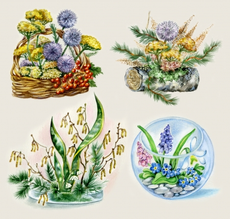 Posies of flowers  Set of unusual posies with natural elements  log, moss, branches, pebble  photo