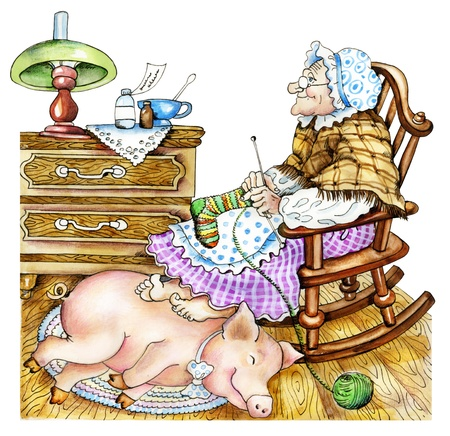 Granny with a pig  Hand drawn cartoon illustration  old woman, knits a stocking  She warms her feet upon a pig, sleeping on a carpet  Express concept  contact with pets treats people for an illness   illustration