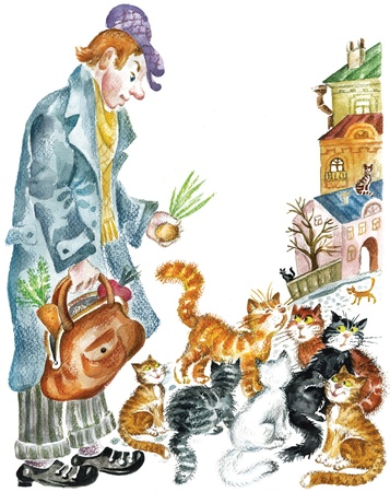Cats and funny man  Watercolors pastel illustration depicts old-fashioned person offering onion to the alley cats