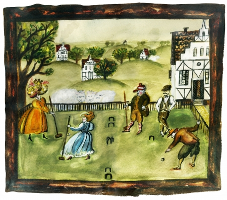 Croquet  Ladies and gentlemen in vintage clothes, playing croquet against old english village view   photo