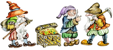gnomes: Gnomes and trunk with treasures. Cartoon characters of three dwarfs and trunk with treasures