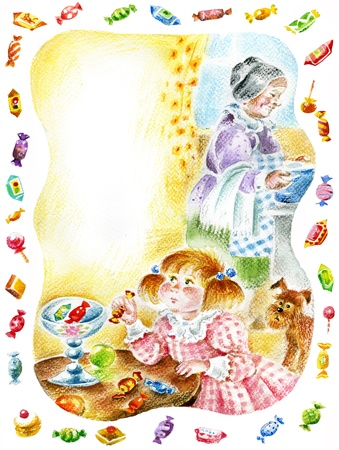 prank: Little pretty girl takes sweets from the vase. Granny cooks the dinner. Image with copy space, useful for children`s cards.