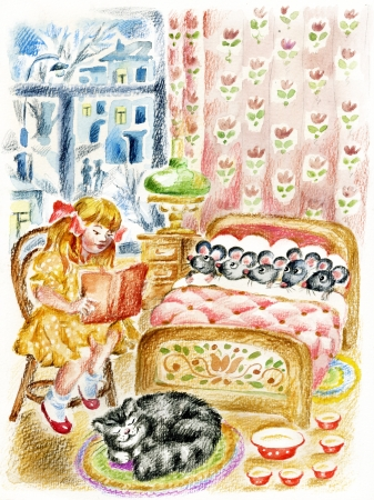 Girl, reading a book to the little mouses before they fall asleep in bed. photo