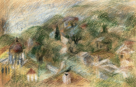 Greek rural houses among cypresses and olive trees. Pastelwatercolors landscape  photo
