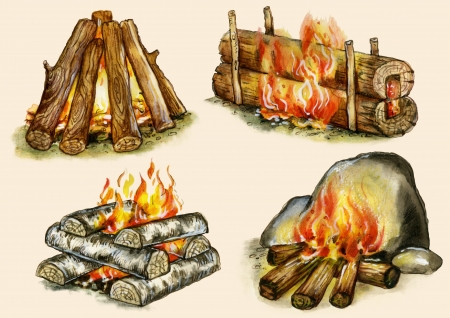 buff: Campfires set    shelter  , block ,  well ,  warming    Images, isolated on buff background