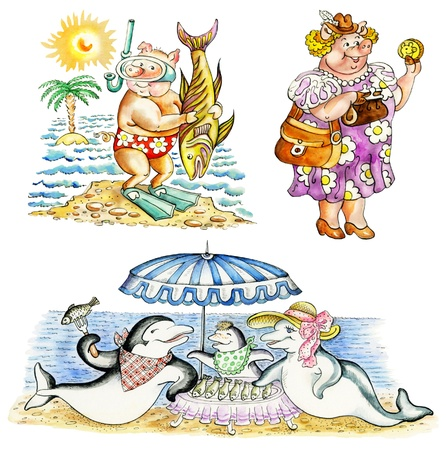 Funny cartoon animals on vacations: pig-scuba diver, female pig shopping, dolphin`s family on beach picnic. photo