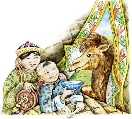 convalescing: Sick mongolian boy and camel. Sick mongolian boy and his mother smile, looking at the camel that peeps in jurt. Expresses the idea that contact with animals helps convalescing from illness.