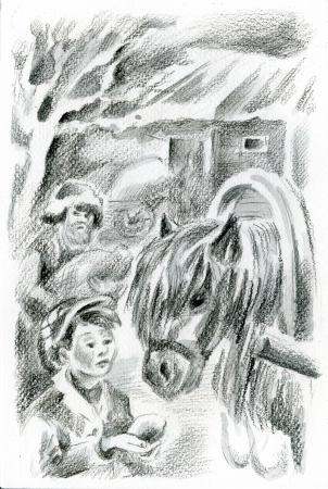Boy feeding a horse.Senior villager near hayloft is on background. photo