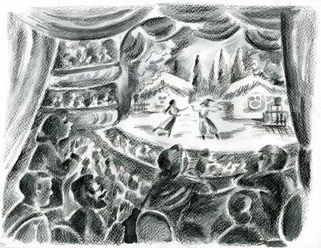 pictorial  representation: Spectators looking from theatre box to the ballet on stage