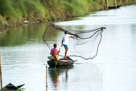 Fisherman is trying to catch fish