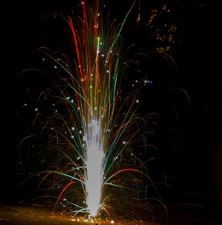 colurful tubri anar firework during diwali festival durga kali puja dusshera india