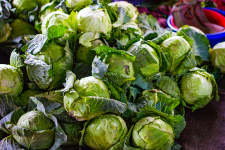 heap of green cabbage in retail vegetable super market for sale