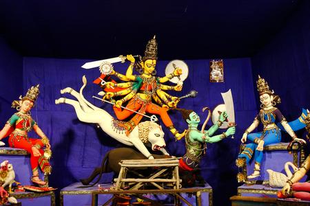 durga puja idol in a pandal at kolkata, india Stock Photo