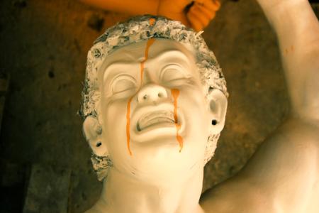 A clay idol of a Mahishashura the arch nemesis of Goddess Durga under construction Stock fotó