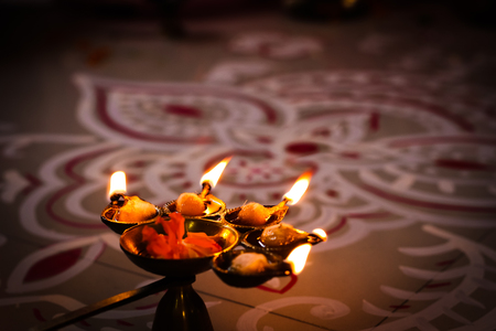 multi flame lamp panchapradip as an offering to god for worship