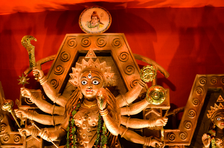 october 2018, Kolkata, India. Idol of Goddess Durga, worshiped in a the hindu ritual of Durga Puja at Kolkata, India Redactioneel