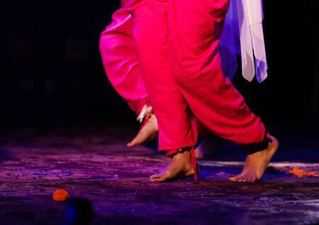 indian classical dance form in feet with musical anklet with selective focus and blur Stock Photo - 129925617