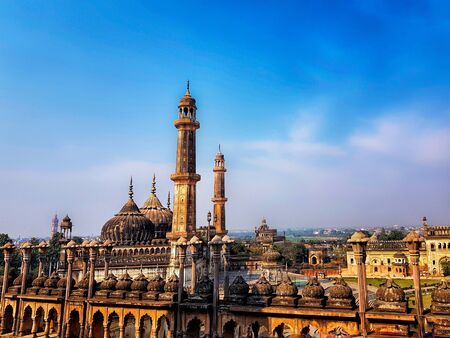 lucknow city scape horizon viewed from top of bara imambara. lucknow tourism