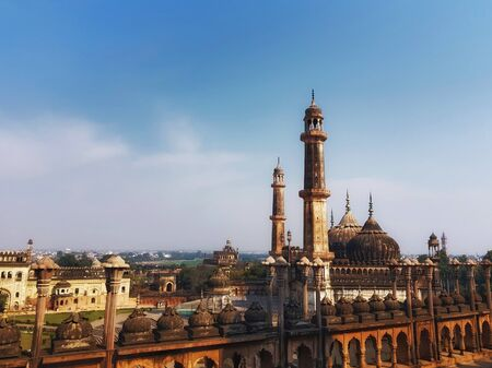 lucknow city scape horizon viewed from top of bara imambara Stok Fotoğraf