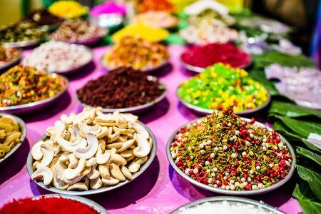 different types of colorful garnish pan masala used to decorate betel leaf banarasi paan Reklamní fotografie