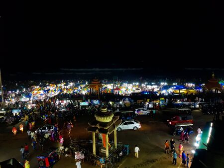 April 21,2019. Puri, India. View of heavily crowded puri beach market area during the night.This area is locally known as Swargadwar or gateway to heaven. Redakční